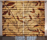 Ambesonne Beige Curtains, Bamboo Stems Background with Leaves and Stems Pattern Print, Living Room Bedroom Window Drapes 2 Panel Set, 108' X 84', Beige Pastel
