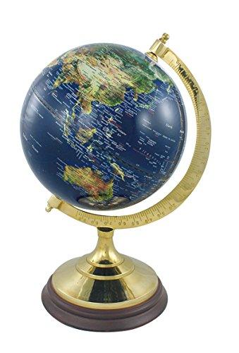 Globus Erdkugel Weltkarte auf Messingfuss mit Holzsockel im Retro-Look dunkelblau englische Beschriftung H 34 cm Ø Sockel 17 cm Ø Kugel 20 cm