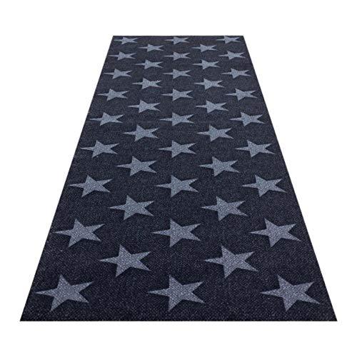 HOMEFACTO:RI Küchenläufer Küchenteppich Teppichläufer Brücke Sterne Stars | waschbar, Größe:ca. 60 x 180 cm, Designs:Sterne | schwarz grau