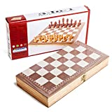 BSTOB Juego de ajedrez de Madera Plegable Plegable 30 cm x 30 cm