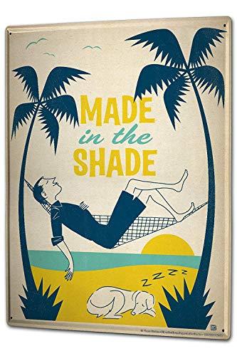 SIGNCHAT Fun Gemaakt in de Shade hangmat palmbomen slapen man hond metalen tin teken 8x12 inch