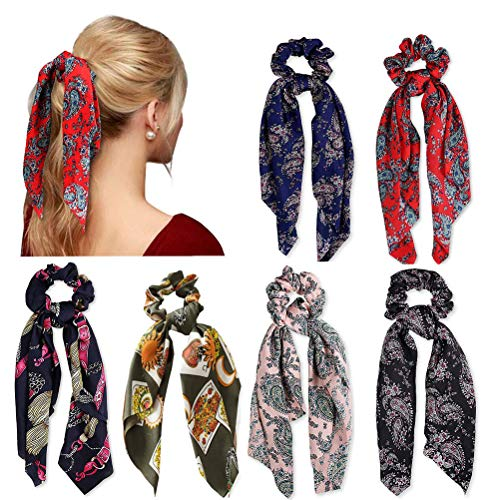 6 Pz Capelli Scrunchies Satin Silk Elastic Hair Bands Ponytail Holder Legami scrunchy Accessori per capelli vintage per le Donne Ragazze