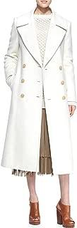 maxsmarts 2018 Winter Women Faux Cashmere White Long Coat Woolen Turn Down Collared Overcoat