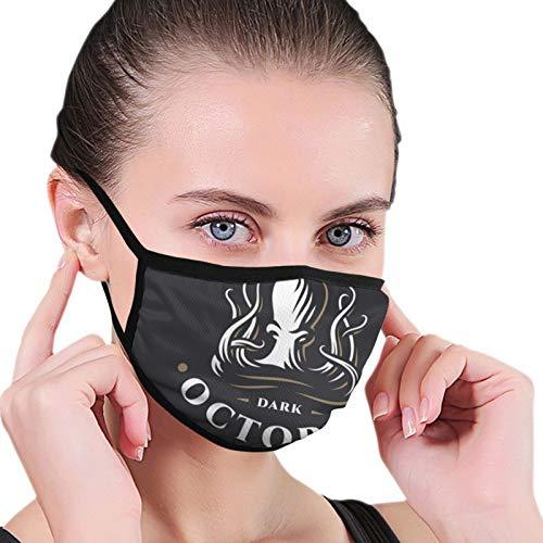 ghjkuyt412 Pulpo oscuro que imprime la bufanda a prueba de polvo inconstil de la bufanda de la cara cubre la