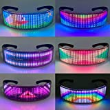 TiSkying Halloween 3D Bluetooth Glasses, Full Color LED Display Smart Glasses with APP Connected Control DIY USB Charging Glasses for Party Rave Christmas Music Festivals
