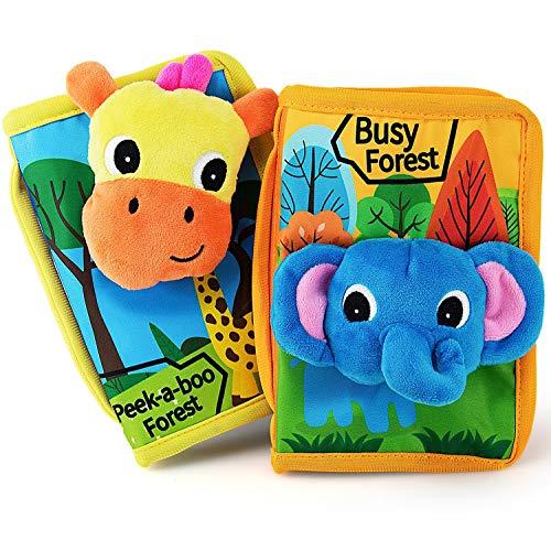 teytoy Baby Spielzeug ab 0 Monate Mein erstes Knisterbuch Stoffbuch Fühlbuch mit Waldtier Motiven - mit Quietsche, Raschelpapier und Spiegel für Baby, 2 Pack (ministeps Bücher: englische Version)