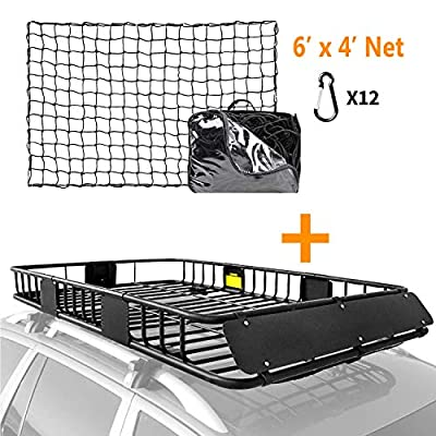 """XCAR Roof Rack Basket Rooftop Cargo Carrier Black Car Top Luggage Holder 64""""x 39""""x 6"""" + 4' x 6' Super Duty Bungee Cargo Net Stretches to 8' x 12'"""