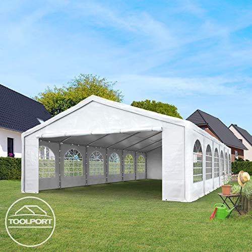 TOOLPORT Hochwertiges Partyzelt 4×8 m Pavillon Zelt 240g/m² PE Plane Gartenzelt Festzelt Wasserdicht weiß - 2