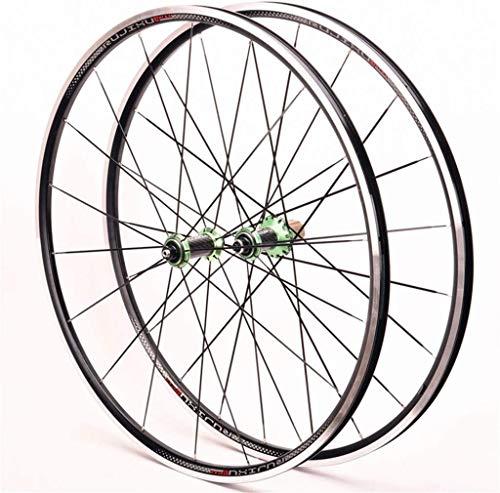 QMH Juego Ruedas Bicicleta Carretera 700C Cubo Fibra Carbono Llanta Doble Capa V Freno QR 9mm 8/9/10/11 Velocidad Volante Cassette 24 Hoyos,Green