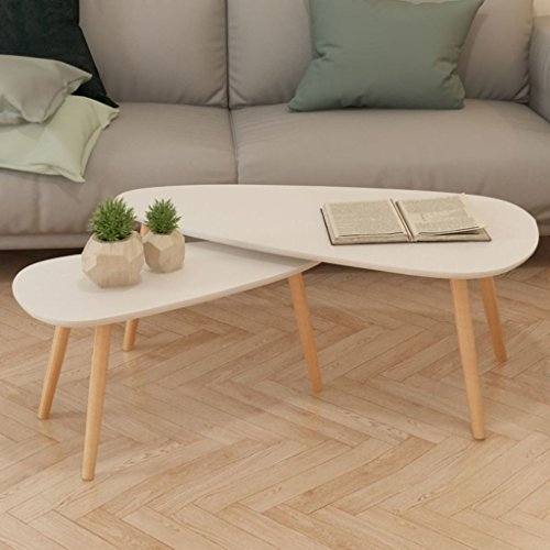 Tidyard Set di 2 Tavolini da Caffè, Tavolino da Salotto, Tavolino Basso da Salotto/Soggiorno in Legno Ovale, 100x50x40 cm / 70x34,5x35 cm Bianco