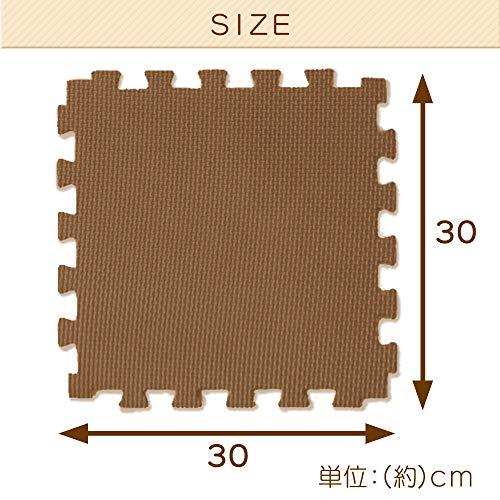 アイリスオーヤマジョイントマット極厚1.8cm30×30cm18枚組ノンホルムアルデヒド洗えるモカブラウン/ベージュJMRN-318