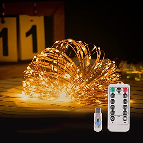 LIBILIS Luci Led USB 20M 200 LED Luci Albero di Natale Impermeabile Filo di Rame Luci Natale Fata per Interno Festival Natale Matrimonio Festa Patio Decorativa, Luci Stringa Telecomando Giallo Caldo