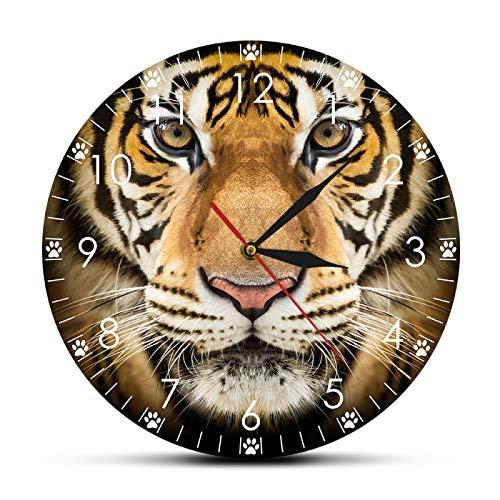 yage Reloj de Pared Moderno con Cara de Tigre, decoración del hogar, Animales Salvajes, Retrato de Tigre, Arte de Pared, Reloj de Movimiento silencioso para habitación de Cueva para Hombre