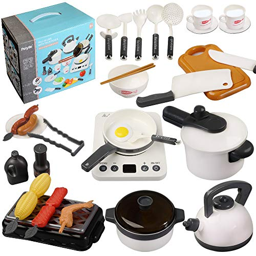 QDH Kids Kitchen Pretend Play Toys Stainless Steel Cookware Pots and Pans Set Play Food Set Accessories Cooking Utensils Set Apron Play Kitchen Toys for Girls Boys Toddlers (White) (White)