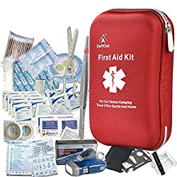 Image: DeftGet First Aid Kit - 163 Piece Waterproof Portable Essential Injuries and Red Cross Medical Emergency Equipment Kits: for Car Kitchen Camping Travel Office Sports and Home
