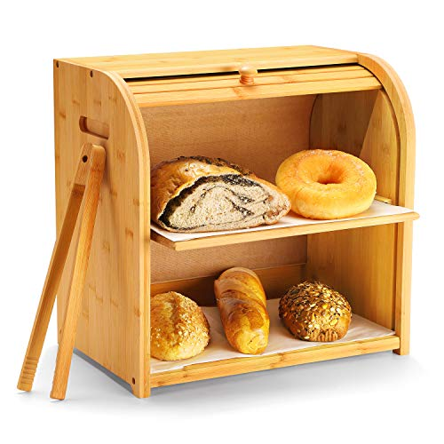 "Bamboo Bread Box, Luckyshe 2 Layer Rolltop Bread Bin for Kitchen, Large Capacity Wooden Bread Storage Holder, Countertop Bread Keeper with Toaster Tong, 15"" X 9.8"" X 14.5""(Self-assembly)"