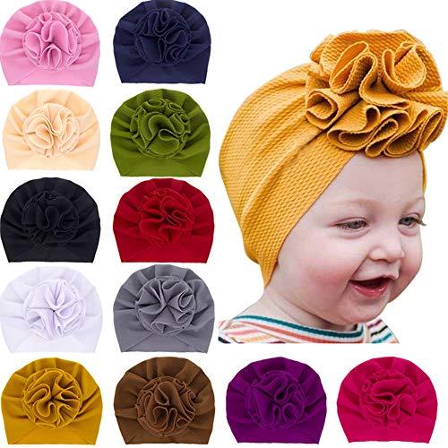 Freesiom Lot de 8 Turban Bonnet Bébé Fille Enfant Naissance Chapeaux Bandeau Cheveux Noeud Fleur Mignon Elastique Enfant Serre Tête Accessoires Nouveau Né Baptême Noël (Multicolore 1)