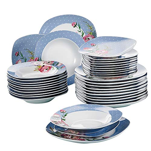 VEWEET série 'Hannah', Service combiné en Porcelaine de 36 pièces, Service de Table Blanc pour 12 Personnes, avec 12 Assiettes à Dessert, 12 Assiettes et 12 Assiettes Creuses