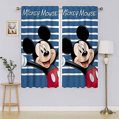 M-ickey-Mouse - Cortinas opacas y cortinas opacas con bloqueo de luz completa para mantener las cortinas cálidas, cortinas para puertas correderas para sala de estar de 42 x 63 pulgadas