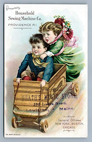 For Sale! VICTORIAN TRADE CARD HOUSEHOLD SEWING MACHINE CO. PROVIDENCE RI antique