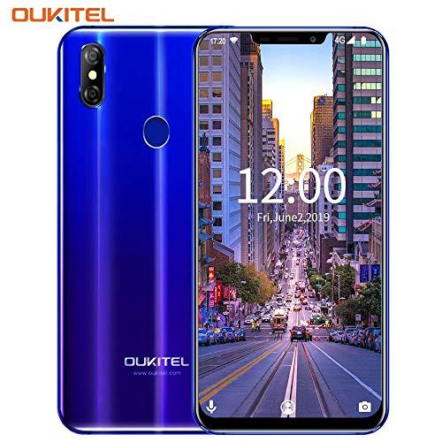 Smartphone Ohne Vertrag,OUKITEL U23 Günstig Handy, Android 4G Dual SIM Smartphone,6 Zoll Display,Octa-core 6GB RAM 64GB ROM Unterstützt Kabelloses Aufladen,Face ID Farbverlauf Blau