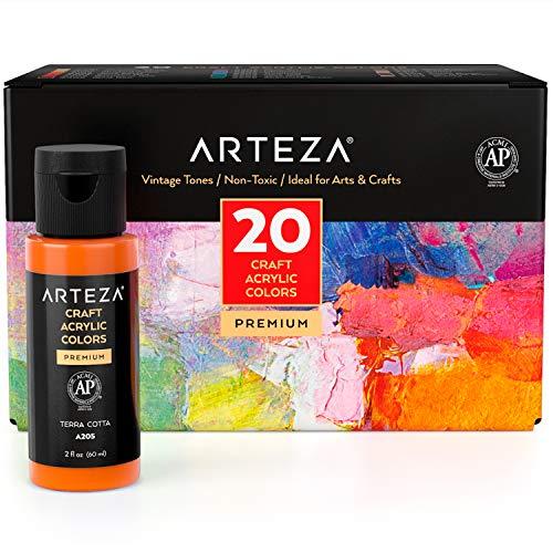 Arteza Craft Acrylfarben Set, 20 Vintage Farbtöne, 60 ml Flaschen, wasserbasiert, mattes Finish, Acrylfarbenset für Kunst- und DIY-Projekte auf Glas, Holz, Keramik, Stoffen, Papier und Leinwand