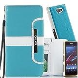 numia Schutzhülle für Sony Xperia Z Ultra Hülle [herausnehmbares Hülle] PU Leder Tasche Kartenfach [Türkis]