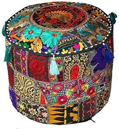 Cover ONLY Traditional Indian Black Patchwork Pouf Cover Indian Living Room Pouf Decorative product image