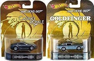 Hot Wheels 007 Aston Martin Set Goldfinger & Casino Royale Retro Entertainment James Bond 2 car Silver Aston Martin DB5 & DBS