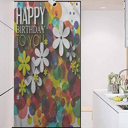 DIYHomeDecorationGlassStickersWindowFilm, Birthday Daisies Dots Best Wish, Home Window Tint Film Heat Control, W17.7xH78.7 Inch