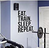 Eat Train Sleep Repeat Fitness Wall Decal Quote For Gym Kettlebell Crossfit Motivational Quotes Art Stickers Home Decor 42X58 Cm