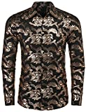 COOFANDY Mens Paisley Shirt Luxury Design Long Sleeve Slim Fit Button Down Shirts, Gold, Medium