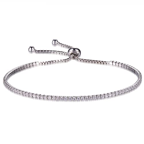 b2d5f33a066 Lemon Grass Rhodium Plated Sterling Silver Bolo Bracelets Tennis CZ Balls,  Beads, Evil Eye