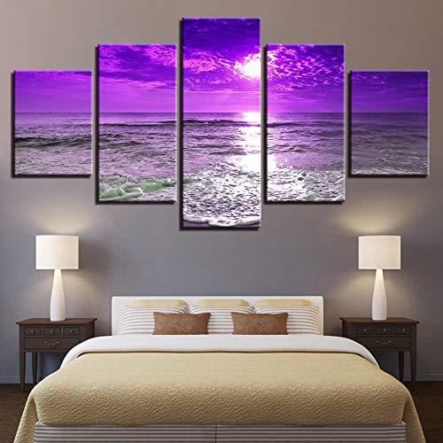 LPHMMD 5 canvas paintings Home Decor Canvas Pictures 5 Pieces Purple Sunset Sea Waves Poster HD Prints Beach Seascape Paintings Wall Art -30x40cm 30x60cm 30x80cm