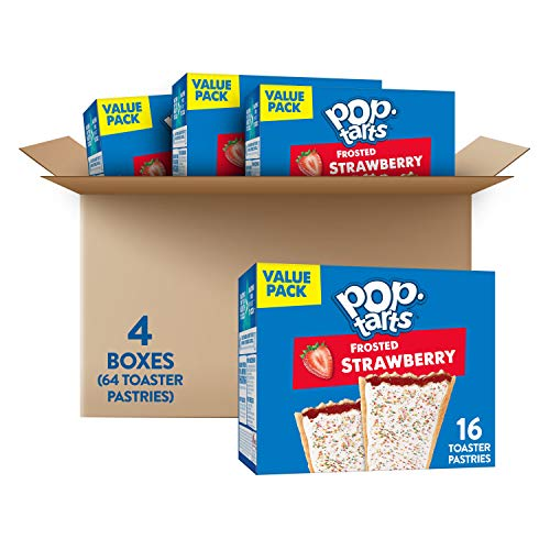 Pop-Tarts, Breakfast Toaster Pastries, Frosted Strawberry, Fun Snacks for Kids (64 Toaster Pastries)