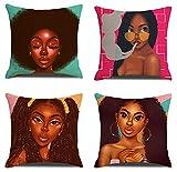 JgZATOA Fundas De Almohada Funda De Almohada Anime Mujer Africana Cojín Hogar Dormitorio Sofá Funda De Cojín Decoración De Coche 45 X 45 Cm Juego De 4