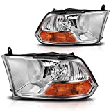 DWVO Headlight Assembly Compatible with 2009-2012 Dodge Ram 1500 2500 3500 Pickup Dual Cab Trims 09-12 Headlamp Replacement
