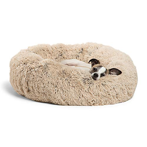 Best Friends by Sheri Calming Shag Vegan Fur Donut Cuddler (23x23 Small - Taupe), Cat and Dog Bed,...
