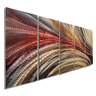 Statements2000 Abstract Autumn Painted Earthtones Large 3D Metal Wall Art Panels Hanging Sculpture by Jon Allen, Red/Gold/Brown - Cosmic Significance by Statements2000