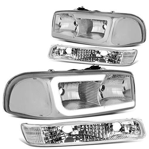 Pair Chrome Housing Clear Corner LED DRL Headlight + Bumper Lamps Replacement for GMC Sierra Yukon XL GMT800 99-07