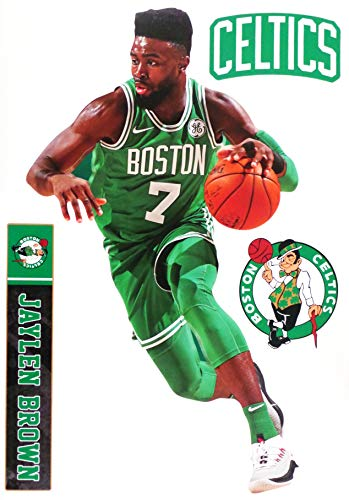 Jaylen Brown FATHEAD Graphic + Boston Celtics Logo Set Official NBA Vinyl Wall Graphics 17' INCH