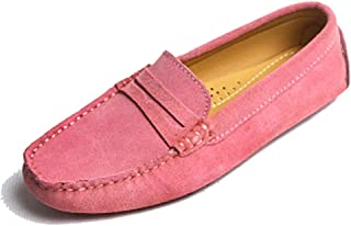 TDA Womens Comfortable Suede Leather Driving Walking Running Boat Loafers Moccasins Flats Multi Colored