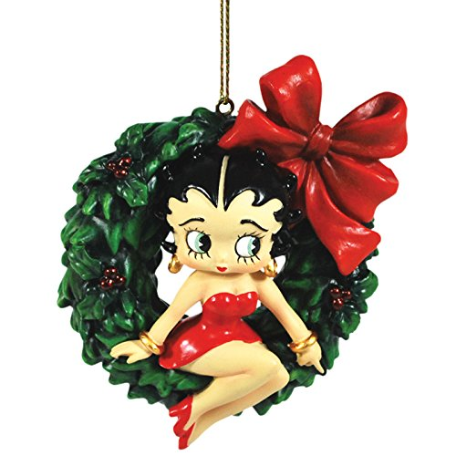 Stealstreet Holiday Christmas Tree Ornament Betty Boop Swinging on Xmas Wreath
