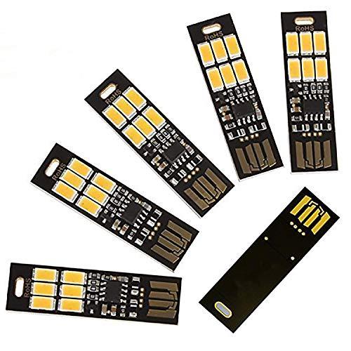 Gfhrisyty 5 pcs USB Light Keychain Super Bright 6 LEDs Lámpara de luz USB con Touch Electrodeless atenuación interruptor para la luz del teclado del ordenador portátil (blanco)