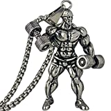 LIANTSH Dumbbell Pendant Necklace Men Stainless Steel Chain Silver Fitness Strong Man Hippie Necklace Motivation Gym Hip Hop Jewelry