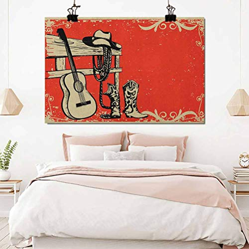 Western Kids Decor Patterned Drape Image of Wild West Elements with Country Music Guitar and Cowboy Boots Retro Art Drapes for Baby Living Room Beige Orange 42x54 inch