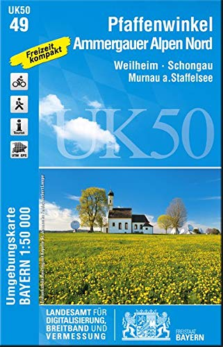 UK50-49 Pfaffenwinkel, Ammergauer Alpen Nord: Weilheim, Schongau, Murnau a.Staffelsee, Peißenberg, Penzberg, Kochelsee, Walchensee, Staffelsee, ... ... Karte Freizeitkarte Wanderkarte)