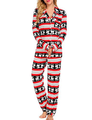 Ekouaer Sleepwear Womens Christmas Pajama Set(Christmas, Large)