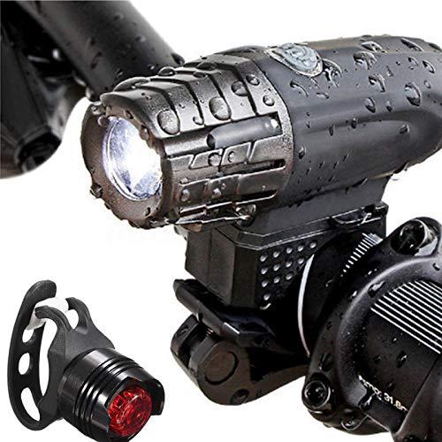 Lxj - Juego de luces para bicicleta (recargable, 320 lm, luz trasera y faro impermeable, modo de iluminación ajustable, carretera y bicicleta de montaña, fácil de instalar