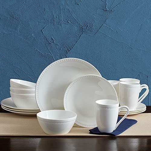 Mikasa 5224192 Loria 16-Piece Bone China Dinnerware Set - Dishwasher & Microwave Safe, Service for 4, White